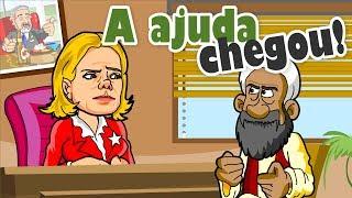 Gleisi pede ajuda aos árabes na TV Al Jazeera E a ajuda vem Charge de humor