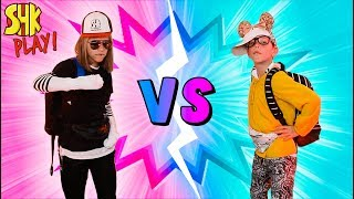 Mystery Box School Outfits Boys vs Girls Switch Up Challenge! SuperHero Kids Challenges