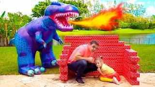 Nastya와 아빠는 공룡과 놀다