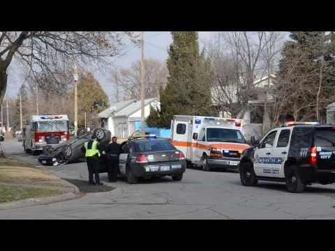 Rollover crash on Rebecca Street in Sioux City, Iowa, on Dec. 3, 2013