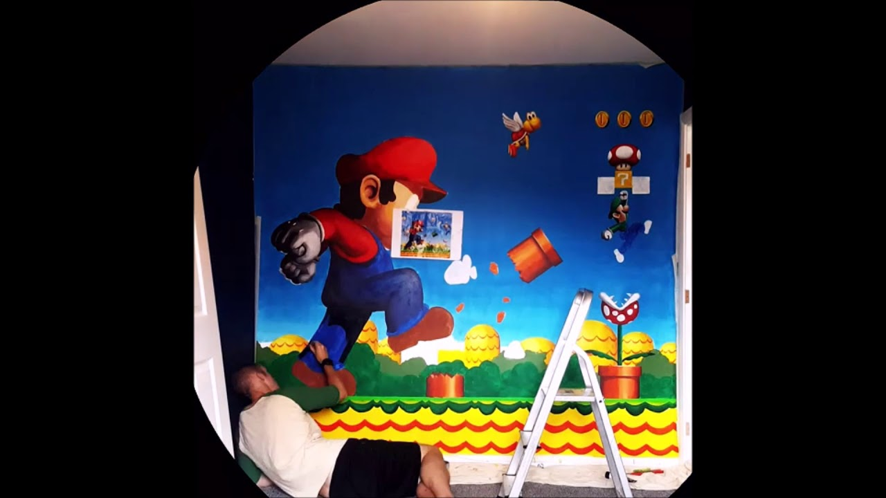 """Super Mario and Luigi"" Wall Ar Mural Time lapse by Paul Curtis Artwork"