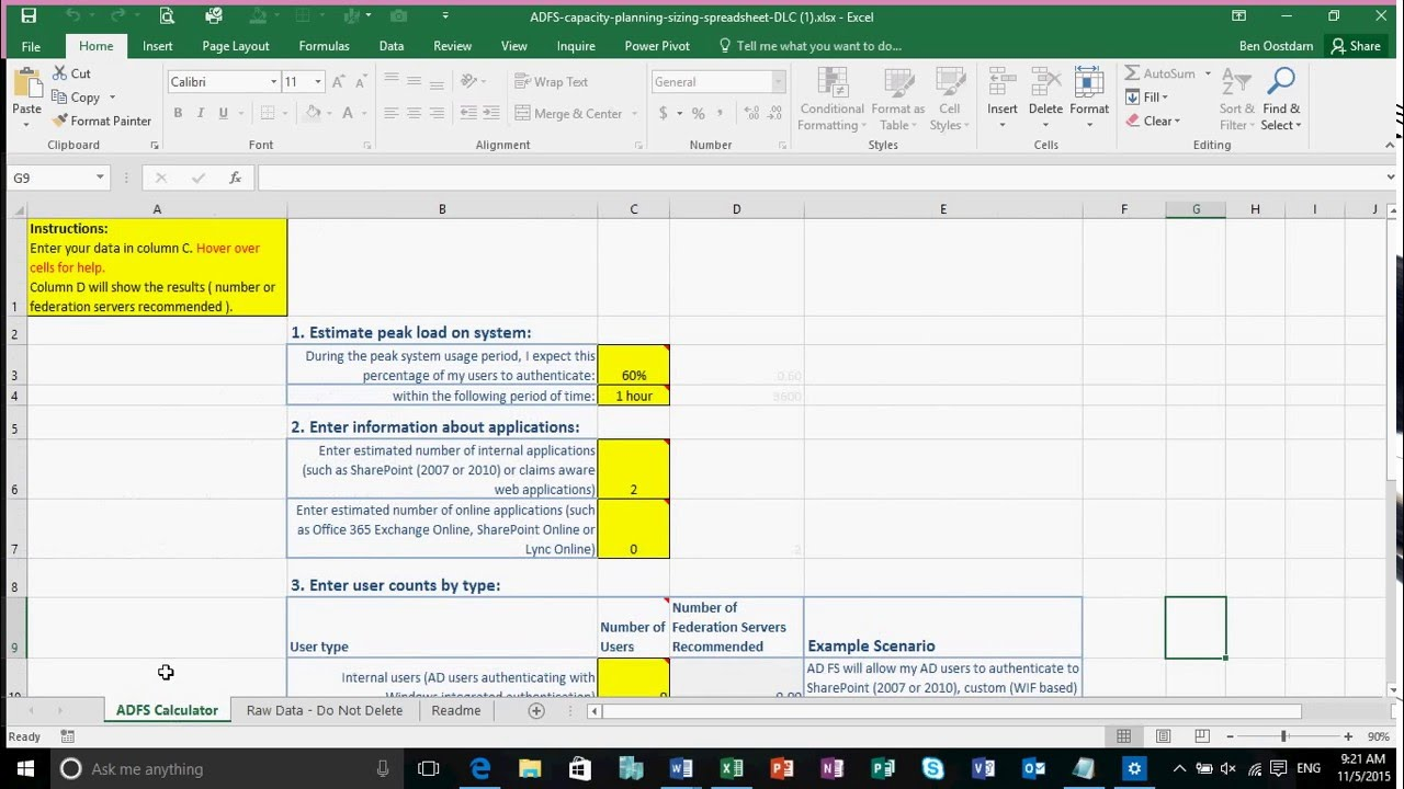 Introduction to & walk through the ADFS capacity calculation sheet ...