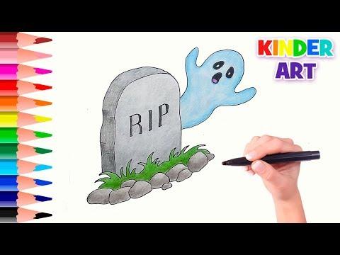 Надгробие и привидение - Рисунки на Хэллоуин | How To Draw A Tombstone &  Ghost