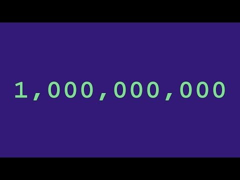 Colored Numbers from 0 to 1,000,000,000