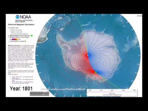 South Magnetic Pole & Declination from 1790 - 2020 Antarctic Polar Projection