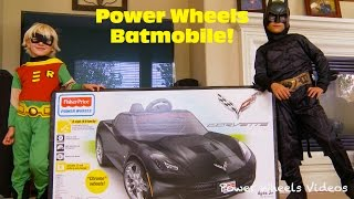 Gabe and Garrett Power Wheels Unboxing and Assembly - Corvette Stingray Batmobile!
