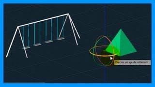 Autocad - 4/7 Iniciación 3D, básico 3D; gizmos: desplazar 3D, rotar 3D, escalar 3D. Tutorial HD