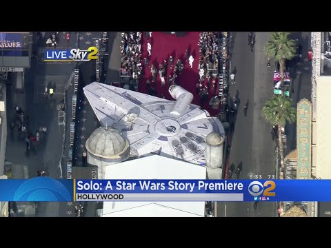 Fans Spend Night With Millennium Falcon On Hollywood Boulevard For 'Solo' Premiere