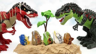 5 Dinosaur Lego Heads In Sand! Scary Tyrannosaurus And Powerful T-Rex Dino Fun Video For Kids