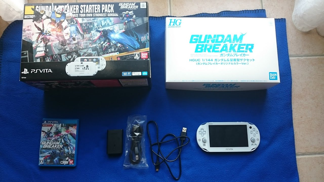 unboxing: psvita slim gundam breaker starter pack limited edition