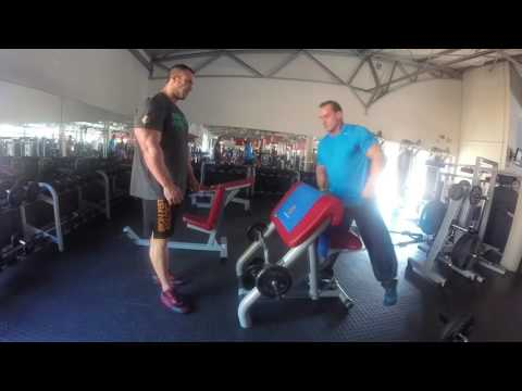 Raw footage of Andrew Hudson training Arms with Mario Van Biljon