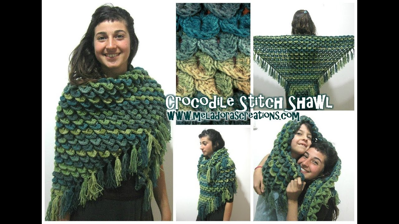 Crocodile Stitch Shawl Revised Crochet Tutorial Youtube