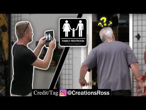 Putting Restroom Signs On Random Doors Prank