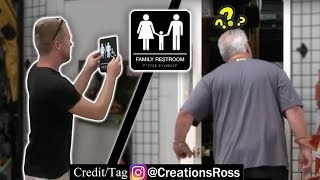 Putting Restroom Signs on Random Doors Prank