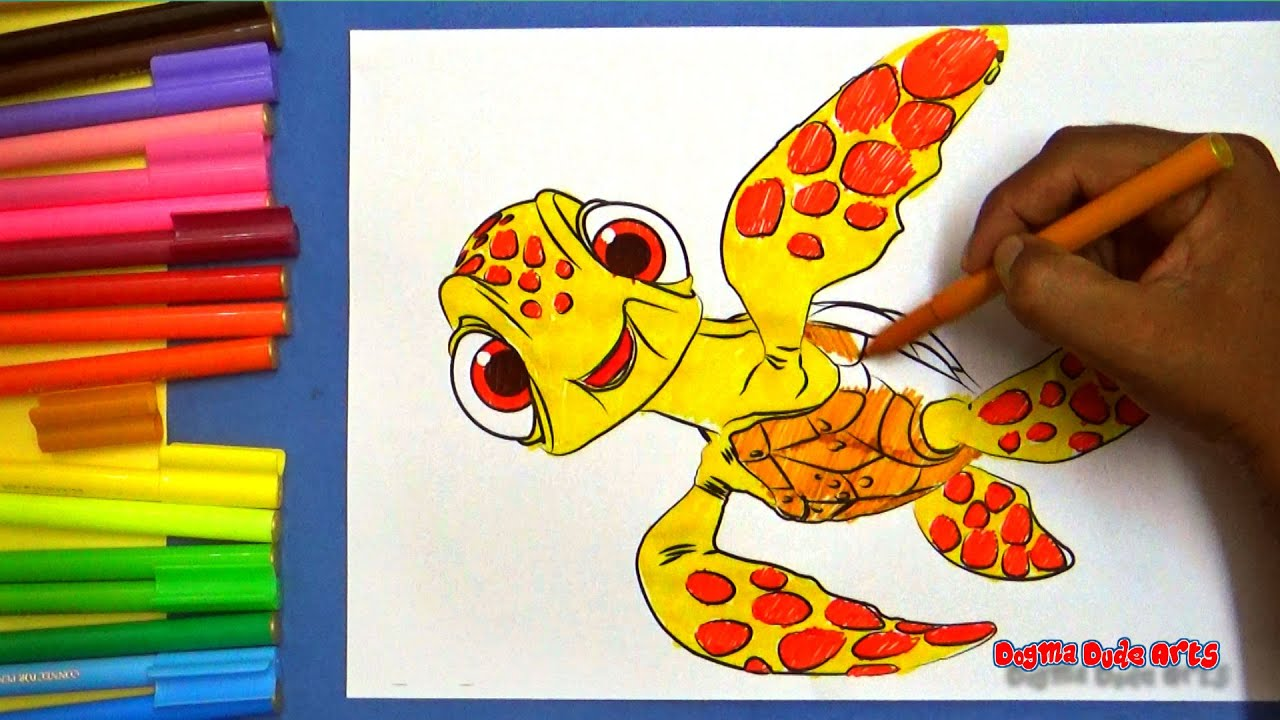 Finding Dory coloring pages - Squirt(baby turtle) ,Marlin, Nemo ...