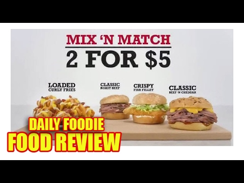 Arby 39 s 2 for 5 deal review mix and match youtube for Arby s 2 for 5 fish