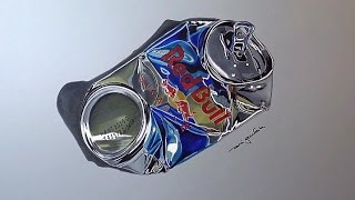 How to draw a crushed can - Red Bull  - 3D Art - Speed Drawing by Rui Gouveia
