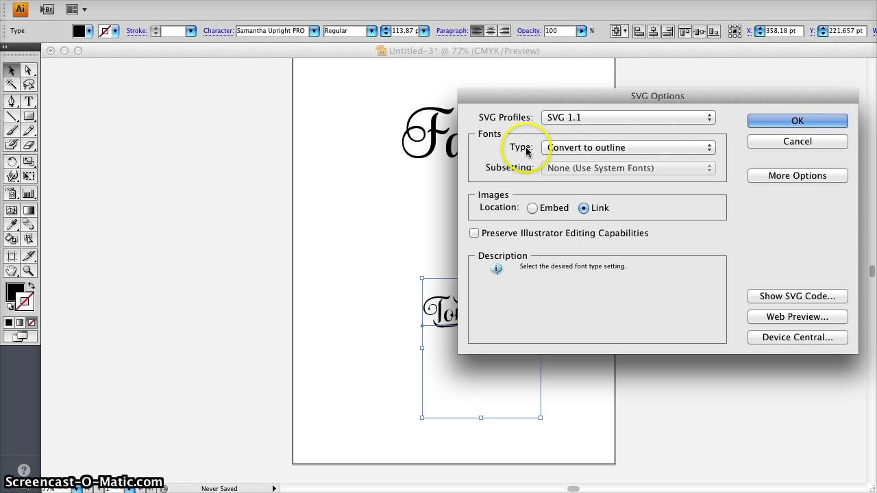 Fancy fonts in cricut design space via adobe illustrator for Design space adobe