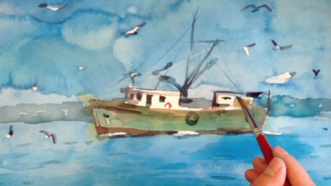 Watercolor painting demo of a fishing boat by yong chen for Fishing boat painting