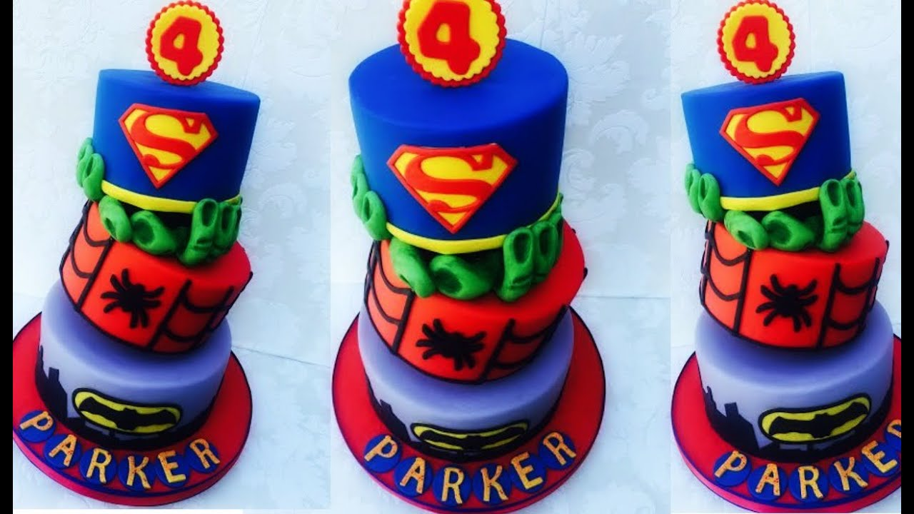 Making A Superhero Cake Batmansupermanspidermanhulk Youtube