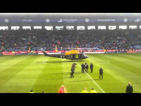 RAF Helicopter Delivers Match Ball To The King Power Stadium for LCFC vs NFFC 10/11/12 HD