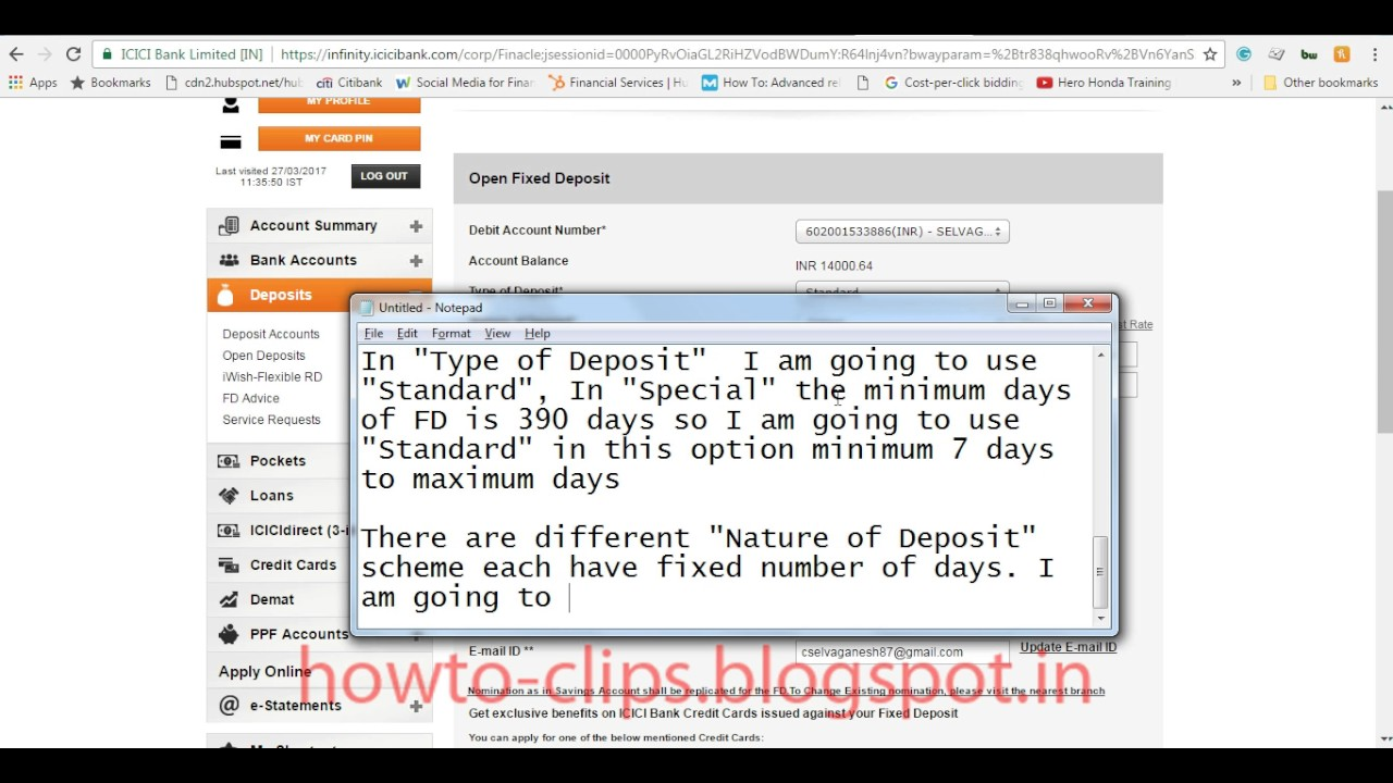 how to get fixed deposit receipt online icici bank