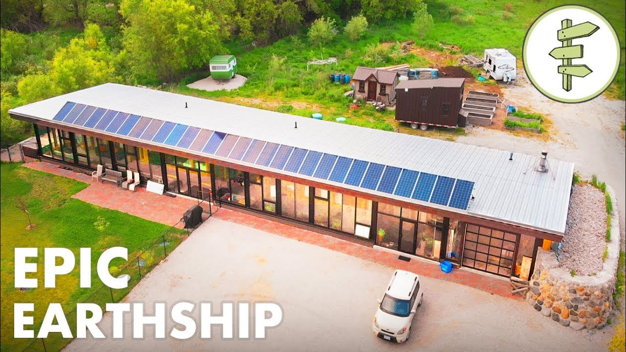 Man Living In A Sustainable Innovative Earthship Home Full Tour Youtube