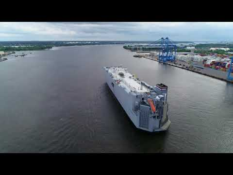 Aerial Drone Video of Vehicle Car Carrier Ship Cape Washington Delaware River Philadelphia