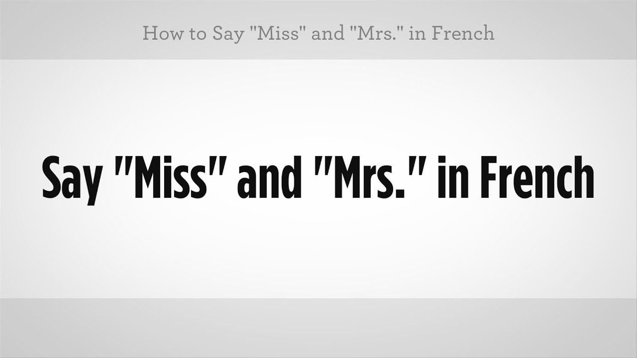 Mr In French