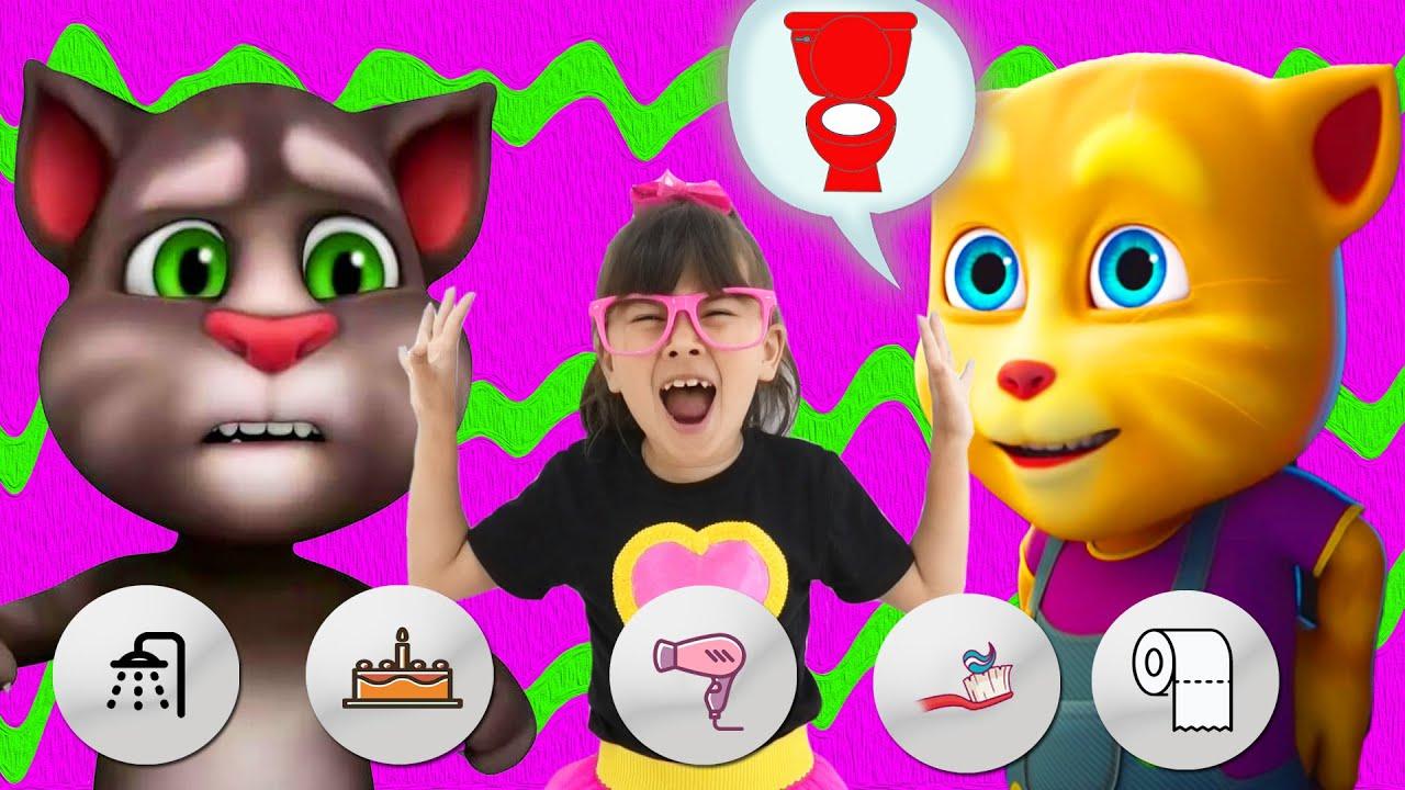 My Talking Ginger VS Talking Tom. Сartoon gameplay with Talking Tom Friends and Abby Hatcherr