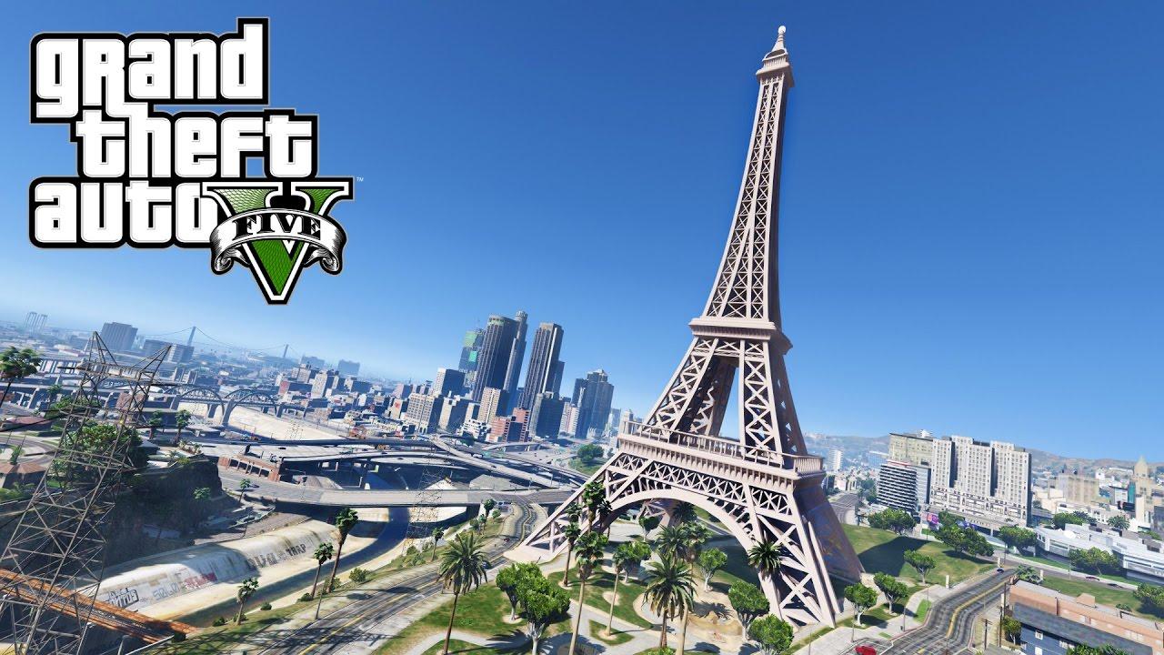 Gta 5 Eiffel Tower Paris Mod Custom Map Mods Youtube