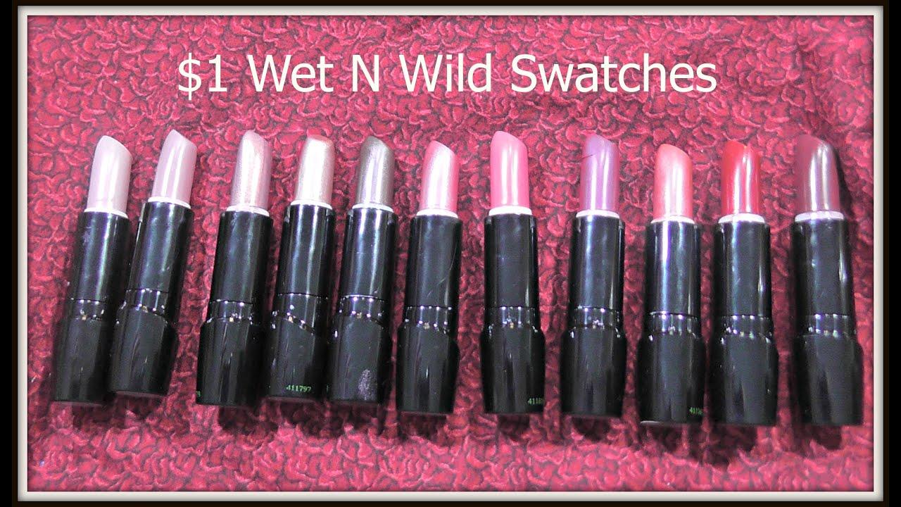 Dollar General $1 Wet N Wild New Lipstick Shades Swatches - YouTube