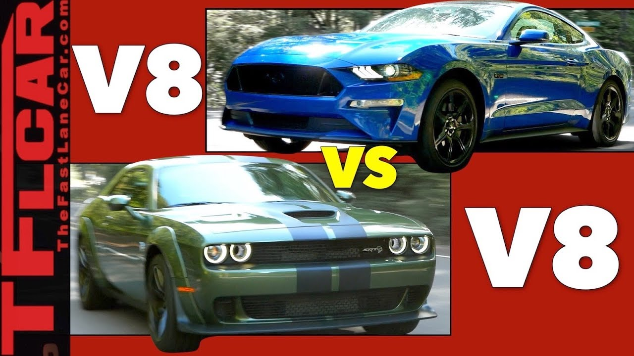Fast vs faster ford mustang gt vs challenger hellcat mashup review