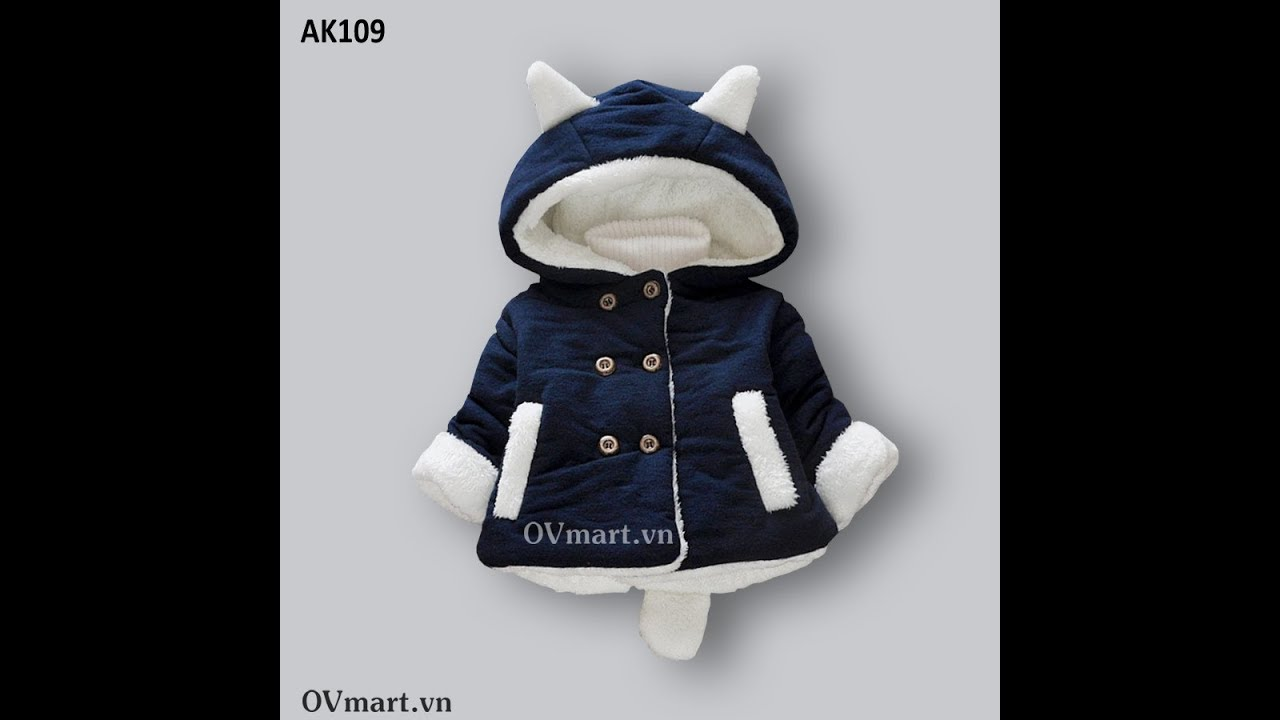 Áo khoác bông lót lông mũ tai gấu xinh xắn cho bé - AK109 - Quần áo trẻ em