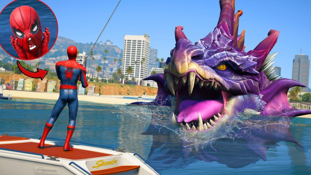Download Spiderman Fishing a Giant Sea Monster ! Jormungandr Attack City GTA 5
