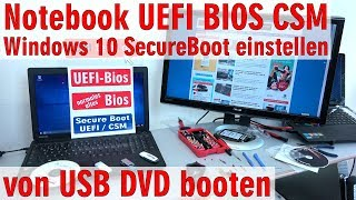 Notebook Laptop UEFI-Bios CSM - Windows 10 SecureBoot einstellen - von USB / DVD booten - [4K]