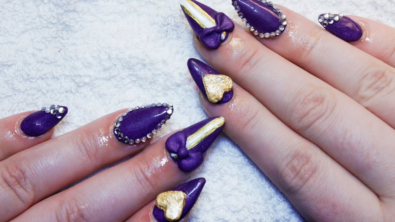 Sculpted Purple & Gold Almond Nails - YouTube