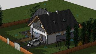 EliteCAD 3D BIM - symulacja  / analiza nasłonecznienia domu. Animacja zacienienia działki.