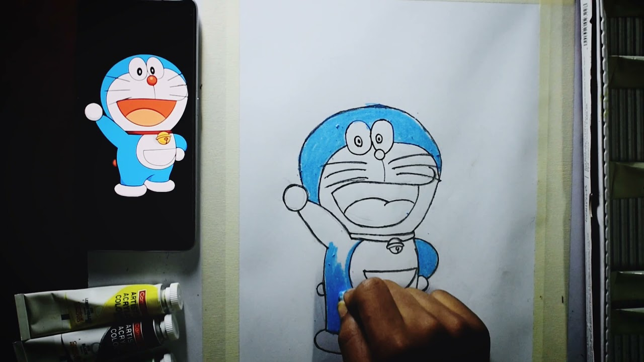How to Draw Doraemon step by step | Easy drawing for Children | Oil Pastel Drawing | Kothakoli