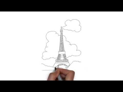 как нарисовать Париж,how to draw Paris,cómo dibujar París,comment dessiner Paris