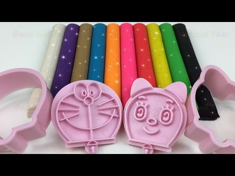 Colorful Sparkling Glitter Play Doh Modelling Clay with Doraemon Molds Fun and Creative For Kids