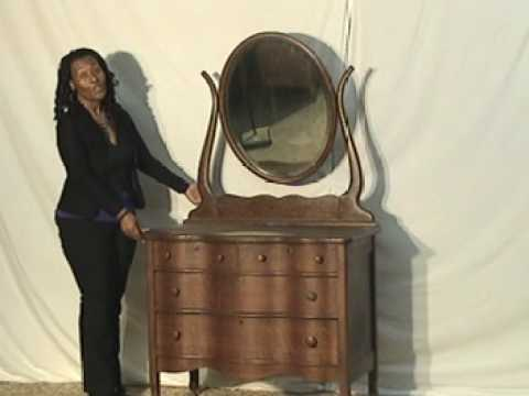 Oak Victorian Dresser With Oval Beveled Mirror Serpentine Drawers