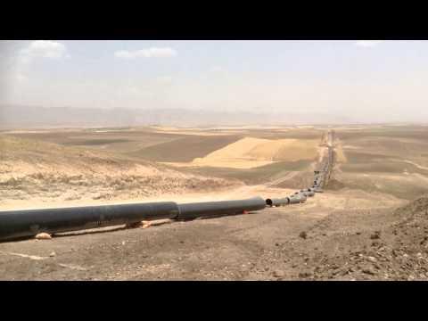 Kurdistan Turkey strategic pipeline filmed 1 June 2013 near