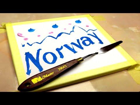 Painting Norway.Acrylic Paints.Landscape.Acrylics Techniques on canvas