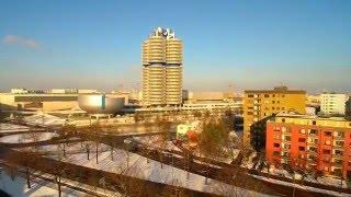 Drohne Q500 keine Phantom München BMW Museum BMW Büro Gebäude Fernsehenturm Olympia Stadion von Oben