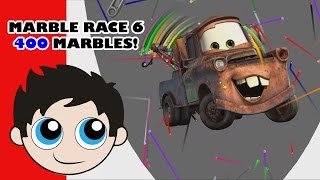 Marble Race 6 - 400 MARBLES - Algodoo - Disney Pixar Theme - Kinder Playtime