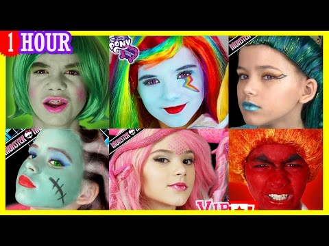 1 HOUR Face paint Makeup & More! Inside Out, My Little Pony, Monster High Compilation! | KITTIESMAMA