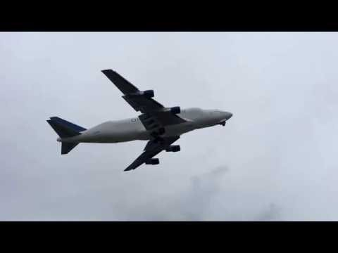 Boeing 747 Dreamlifter taking off from Anchorage Airport