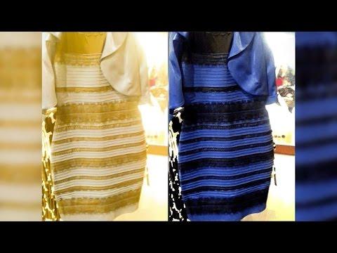 Какого цвета платье: синего или белого?