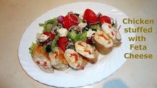 Chicken stuffed with Feta Cheese and served with Greek Salad